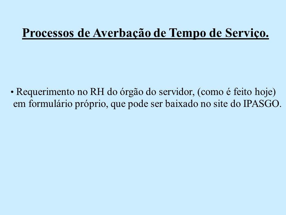 Processos de Averbação de Tempo de Serviço. Requerimento no RH do órgão do servidor, (como é feito hoje) em formulário próprio, que pode ser baixado n