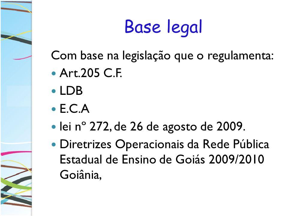 Base legal Com base na legislação que o regulamenta: Art.205 C.F. LDB E.C.A lei nº 272, de 26 de agosto de 2009. Diretrizes Operacionais da Rede Públi