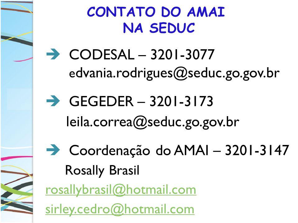 CONTATO DO AMAI NA SEDUC CODESAL – 3201-3077 e dvania.rodrigues@seduc.go.gov.br GEGEDER – 3201-3173 leila.correa@seduc.go.gov.br Coordenação do AMAI –