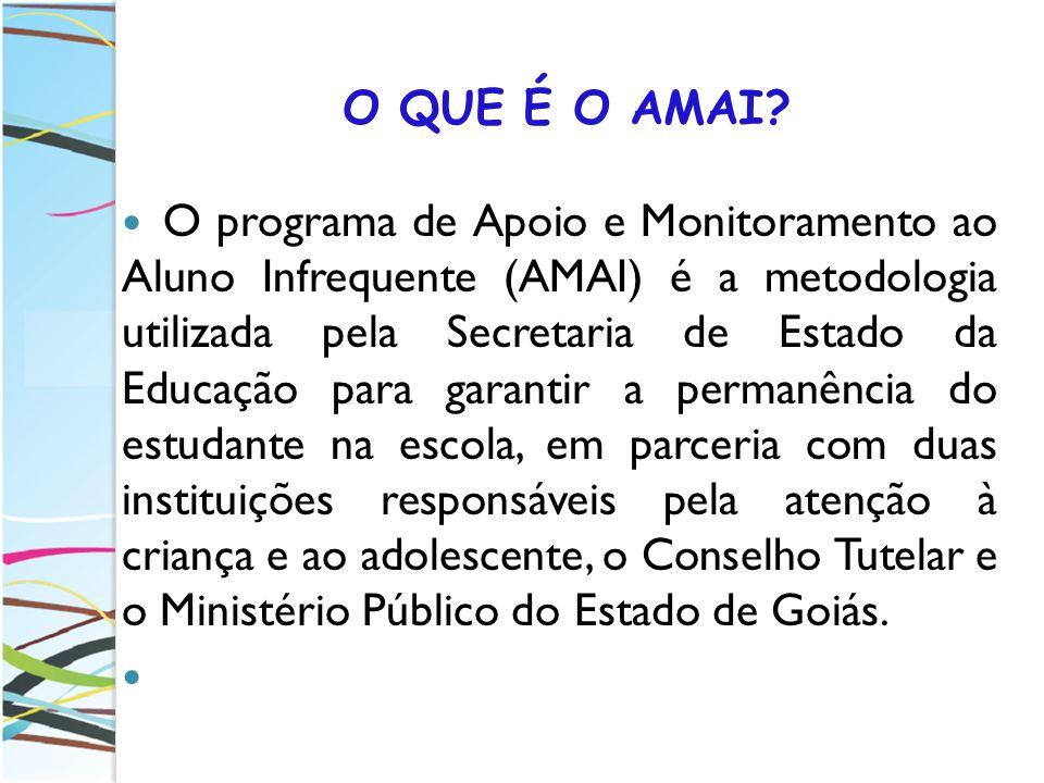 O QUE É O AMAI? O programa de Apoio e Monitoramento ao Aluno Infrequente (AMAI) é a metodologia utilizada pela Secretaria de Estado da Educação para g