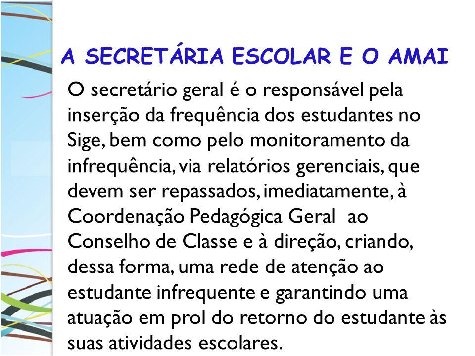 A SECRETÁRIA ESCOLAR E O AMAI O secretário geral é o responsável pela inserção da frequência dos estudantes no Sige, bem como pelo monitoramento da in