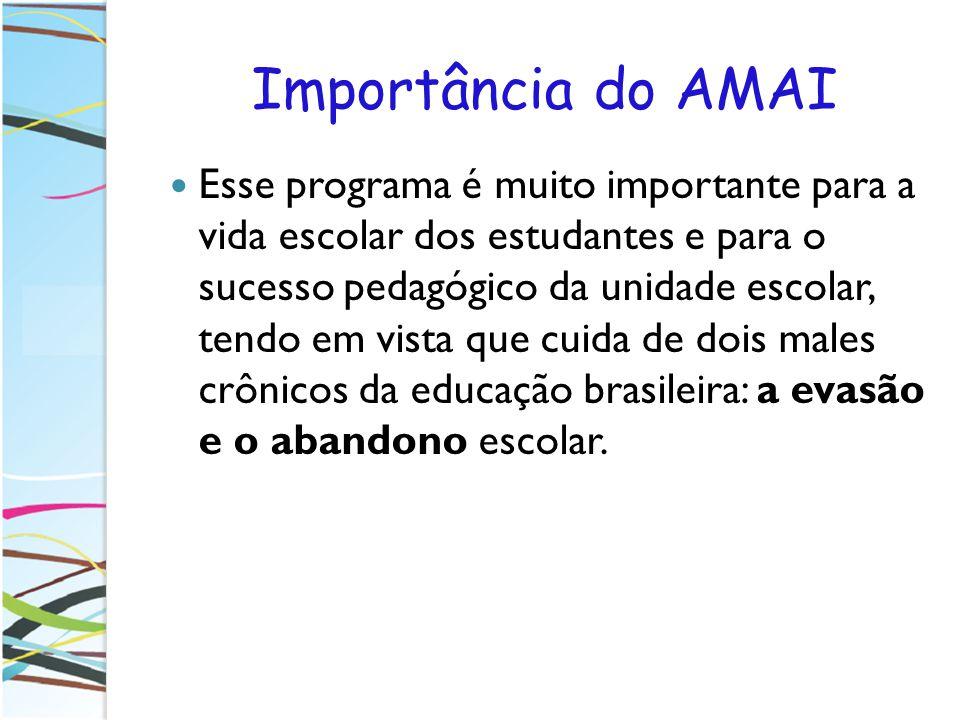 Importância do AMAI Esse programa é muito importante para a vida escolar dos estudantes e para o sucesso pedagógico da unidade escolar, tendo em vista
