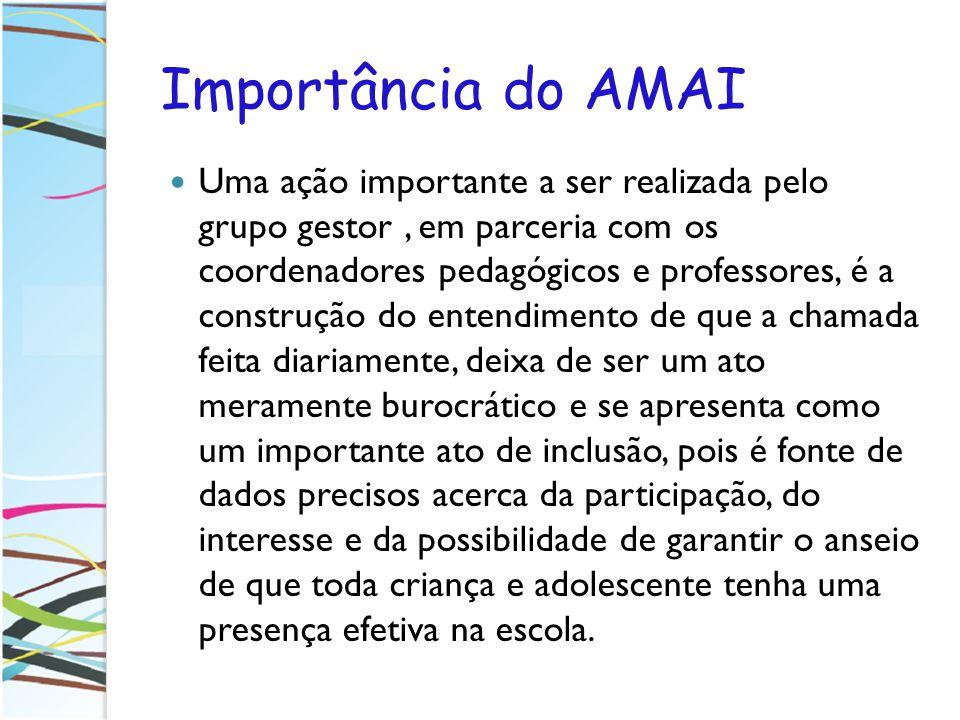 Importância do AMAI Uma ação importante a ser realizada pelo grupo gestor, em parceria com os coordenadores pedagógicos e professores, é a construção
