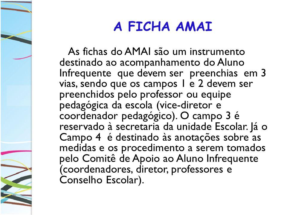 A FICHA AMAI As fichas do AMAI são um instrumento destinado ao acompanhamento do Aluno Infrequente que devem ser preenchias em 3 vias, sendo que os ca