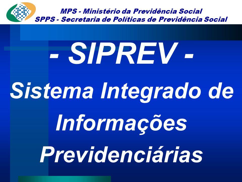 MPS - Ministério da Previdência Social SPPS - Secretaria de Políticas de Previdência Social - SIPREV - Sistema Integrado de Informações Previdenciária