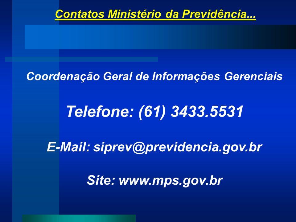 Contatos Ministério da Previdência... Coordenação Geral de Informações Gerenciais Telefone: (61) 3433.5531 E-Mail: siprev@previdencia.gov.br Site: www