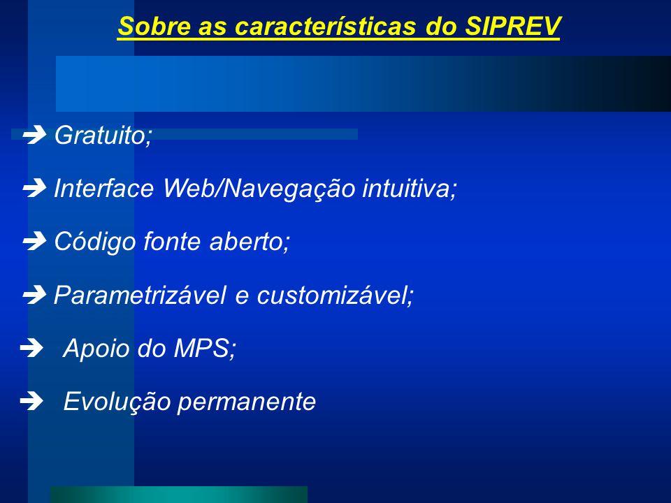 Sobre as características do SIPREV Gratuito; Interface Web/Navegação intuitiva; Código fonte aberto; Parametrizável e customizável; Apoio do MPS; Evol