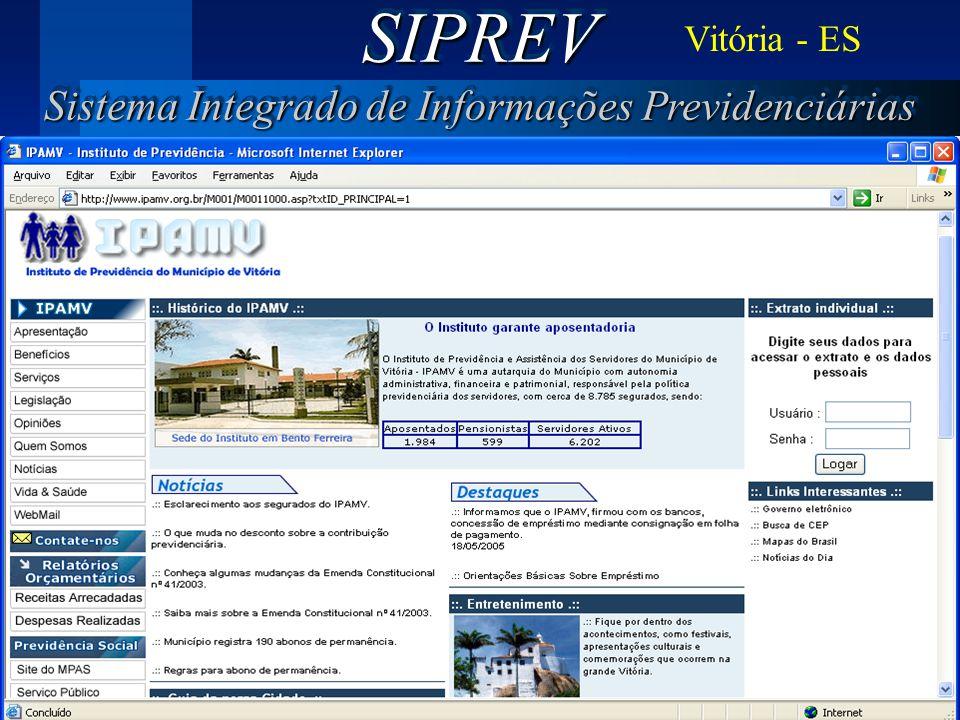 SIPREV Sistema Integrado de Informações Previdenciárias Vitória - ES