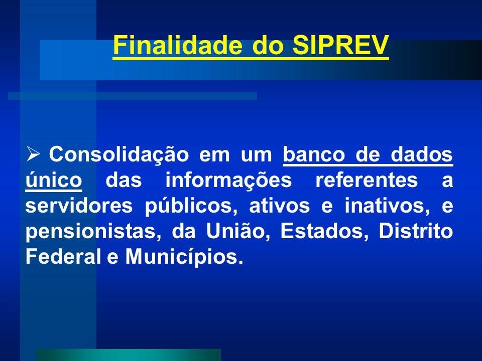 Finalidade do SIPREV Consolidação em um banco de dados único das informações referentes a servidores públicos, ativos e inativos, e pensionistas, da U