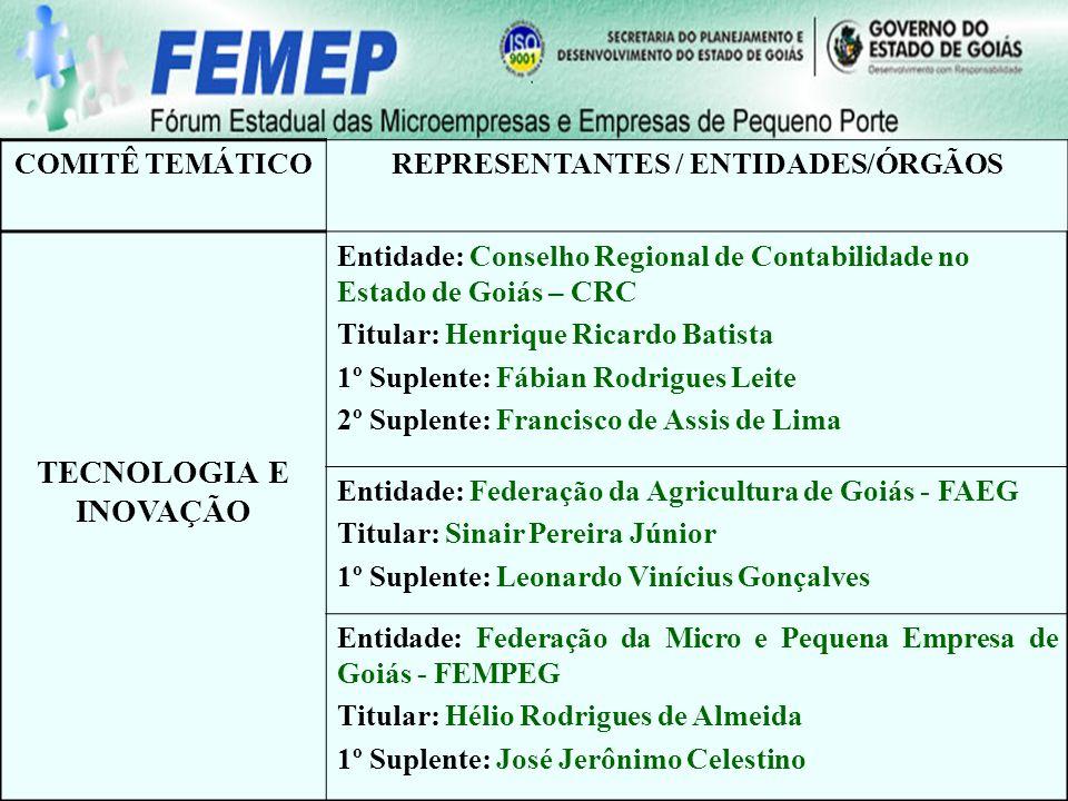 COMITÊ TEMÁTICOREPRESENTANTES / ENTIDADES/ÓRGÃOS TECNOLOGIA E INOVAÇÃO Entidade: Conselho Regional de Contabilidade no Estado de Goiás – CRC Titular: