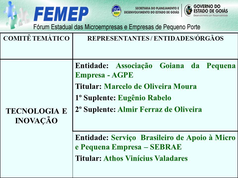 COMITÊ TEMÁTICOREPRESENTANTES / ENTIDADES/ÓRGÃOS TECNOLOGIA E INOVAÇÃO Entidade: Associação Goiana da Pequena Empresa - AGPE Titular: Marcelo de Olive