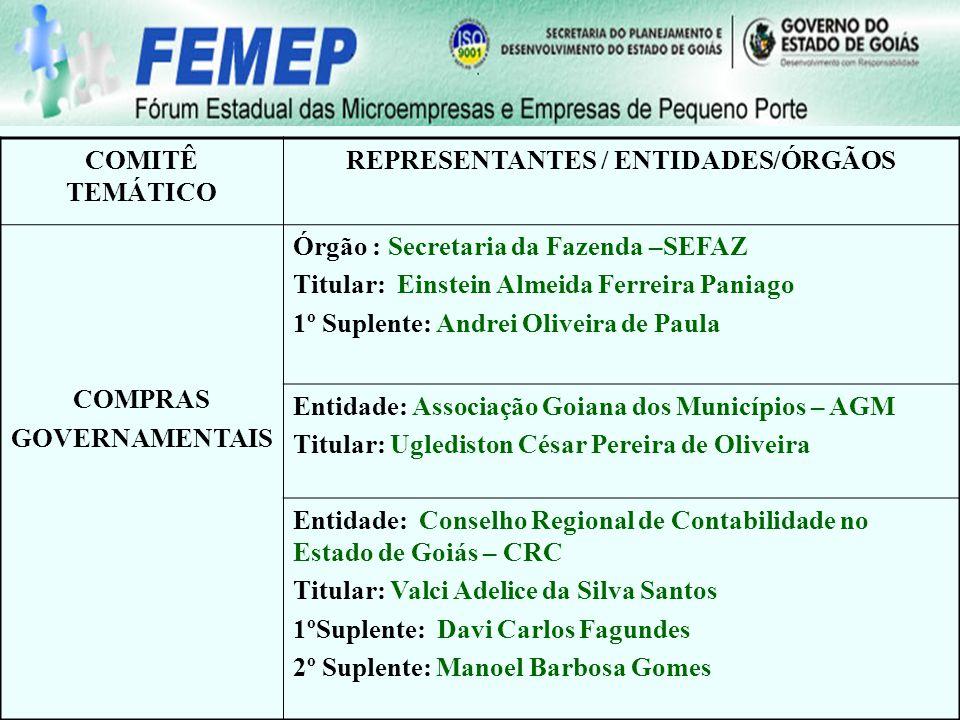 COMITÊ TEMÁTICO REPRESENTANTES / ENTIDADES/ÓRGÃOS COMPRAS GOVERNAMENTAIS Órgão : Secretaria da Fazenda –SEFAZ Titular: Einstein Almeida Ferreira Pania