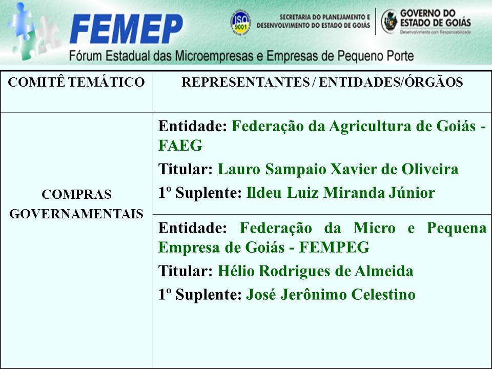 COMITÊ TEMÁTICOREPRESENTANTES / ENTIDADES/ÓRGÃOS COMPRAS GOVERNAMENTAIS Entidade: Federação da Agricultura de Goiás - FAEG Titular: Lauro Sampaio Xavi