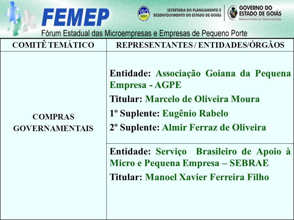 COMITÊ TEMÁTICOREPRESENTANTES / ENTIDADES/ÓRGÃOS COMPRAS GOVERNAMENTAIS Entidade: Associação Goiana da Pequena Empresa - AGPE Titular: Marcelo de Oliv