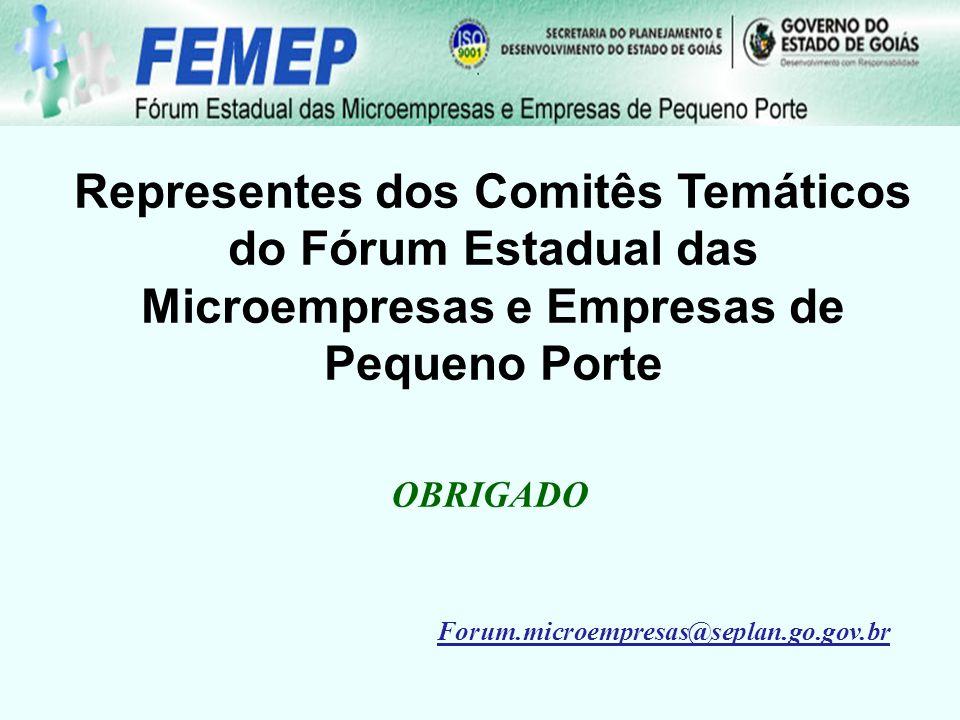 Representes dos Comitês Temáticos do Fórum Estadual das Microempresas e Empresas de Pequeno Porte OBRIGADO Forum.microempresas@seplan.go.gov.br