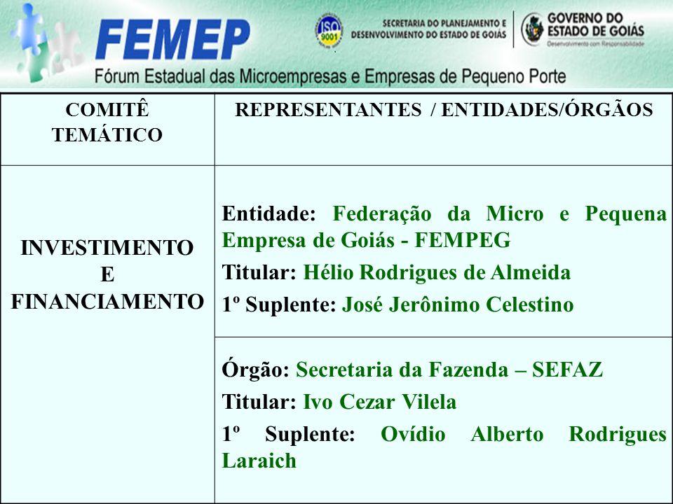 COMITÊ TEMÁTICO REPRESENTANTES / ENTIDADES/ÓRGÃOS INVESTIMENTO E FINANCIAMENTO Entidade: Federação da Micro e Pequena Empresa de Goiás - FEMPEG Titula