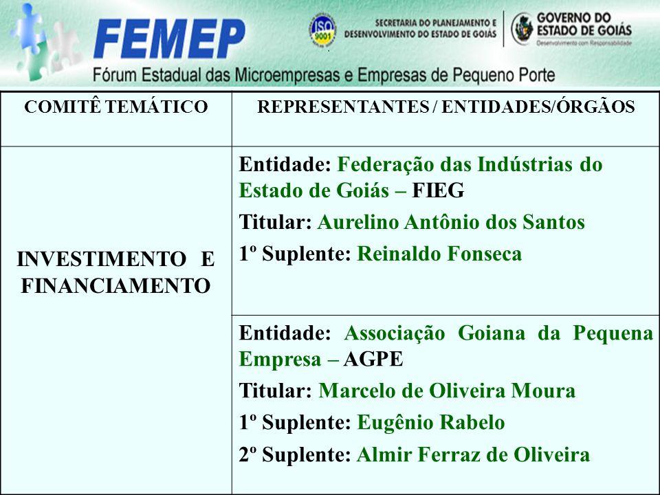 Representantes dos Comitês Temáticos do Fórum Estadual das Microempresas e Empresas de Pequeno Porte OBRIGADO Forum.microempresas@seplan.go.gov.br
