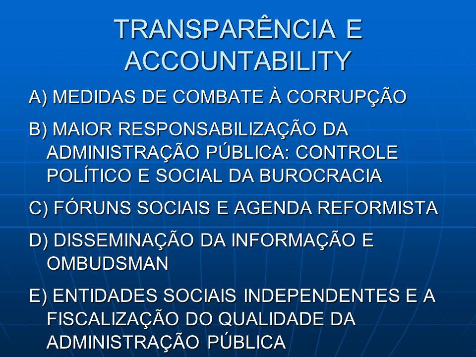 TRANSPARÊNCIA E ACCOUNTABILITY A) MEDIDAS DE COMBATE À CORRUPÇÃO B) MAIOR RESPONSABILIZAÇÃO DA ADMINISTRAÇÃO PÚBLICA: CONTROLE POLÍTICO E SOCIAL DA BU