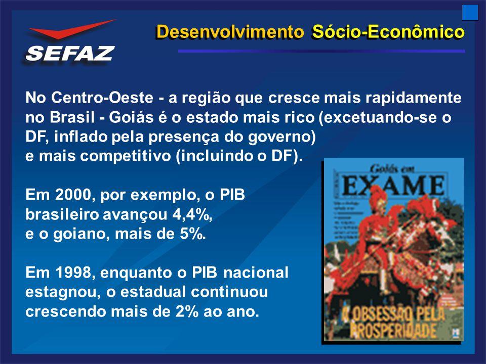 Desenvolvimento Sócio-Econômico No Centro-Oeste - a região que cresce mais rapidamente no Brasil - Goiás é o estado mais rico (excetuando-se o DF, inflado pela presença do governo) e mais competitivo (incluindo o DF).