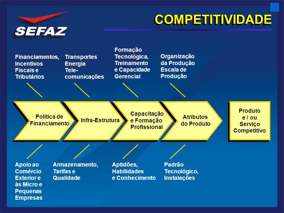 COMPETITIVIDADE Infra-Estrutura Capacitação e Formação Profissional Atributos do Produto Produto e / ou Serviço Competitivo Produto e / ou Serviço Competitivo Transportes Energia Tele- comunicações Formação Tecnológica, Treinamento e Capacidade Gerencial Apoio ao Comércio Exterior e às Micro e Pequenas Empresas Armazenamento, Tarifas e Qualidade Financiamentos, Incentivos Fiscais e Tributários Padrão Tecnológico, Instalações Organização da Produção Escala de Produção Aptidões, Habilidades e Conhecimento Política de Financiamento