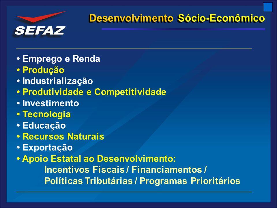 Desenvolvimento Sócio-Econômico Emprego e Renda Produção Industrialização Produtividade e Competitividade Investimento Tecnologia Educação Recursos Naturais Exportação Apoio Estatal ao Desenvolvimento: Incentivos Fiscais / Financiamentos / Políticas Tributárias / Programas Prioritários