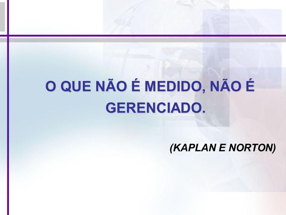 O QUE NÃO É MEDIDO, NÃO É GERENCIADO. (KAPLAN E NORTON)