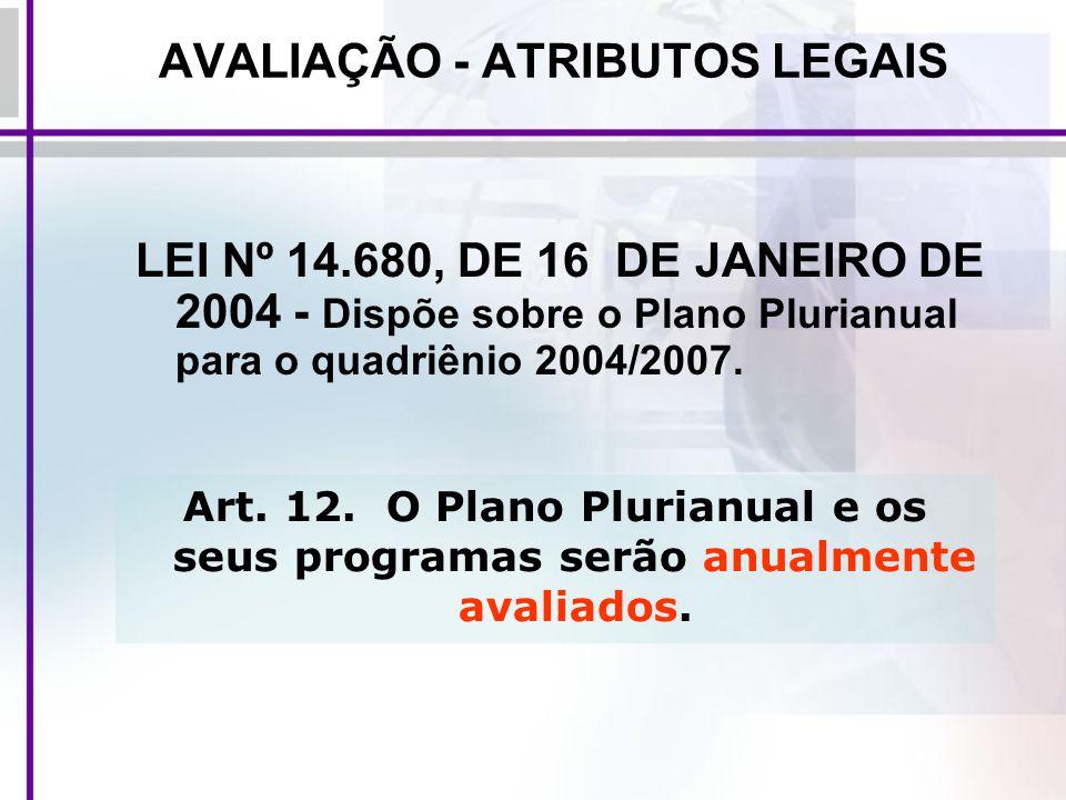 AVALIAÇÃO - ATRIBUTOS LEGAIS LEI Nº 14.680, DE 16 DE JANEIRO DE 2004 - Dispõe sobre o Plano Plurianual para o quadriênio 2004/2007. Art. 12. O Plano P