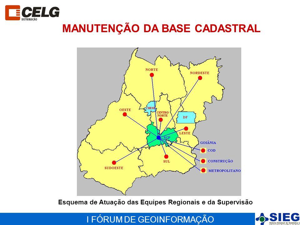 I FÓRUM DE GEOINFORMAÇÃO MANUTENÇÃO DA BASE CADASTRAL Esquema de Atuação das Equipes Regionais e da Supervisão