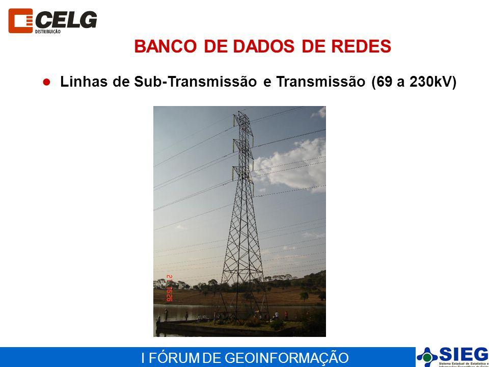 I FÓRUM DE GEOINFORMAÇÃO Linhas de Sub-Transmissão e Transmissão (69 a 230kV) BANCO DE DADOS DE REDES