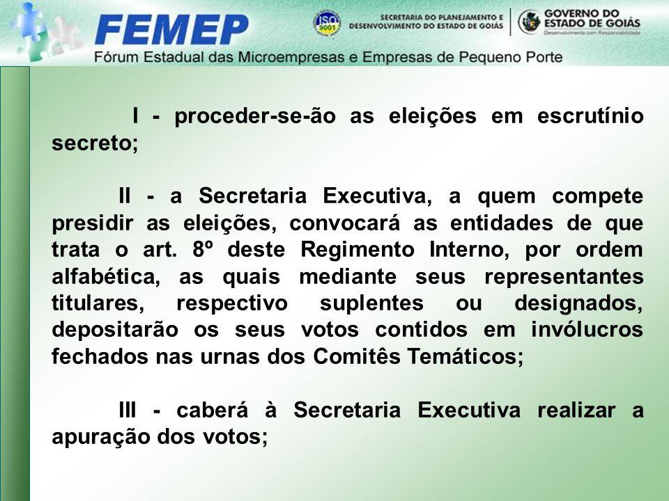 I - proceder-se-ão as eleições em escrutínio secreto; II - a Secretaria Executiva, a quem compete presidir as eleições, convocará as entidades de que trata o art.
