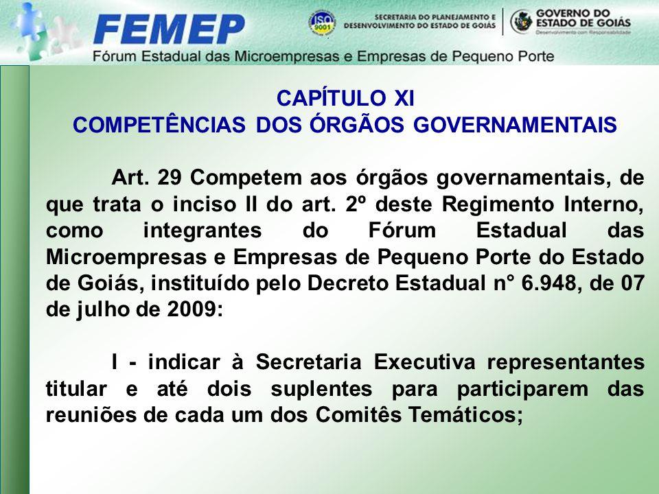 CAPÍTULO XI COMPETÊNCIAS DOS ÓRGÃOS GOVERNAMENTAIS Art.