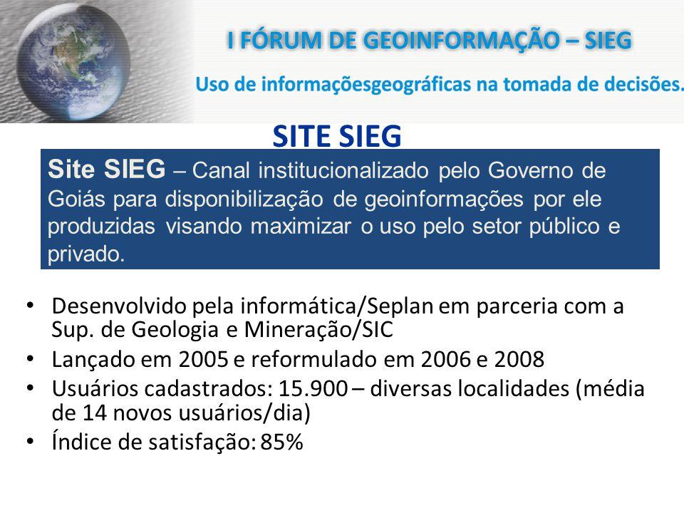 SITE SIEG Desenvolvido pela informática/Seplan em parceria com a Sup.