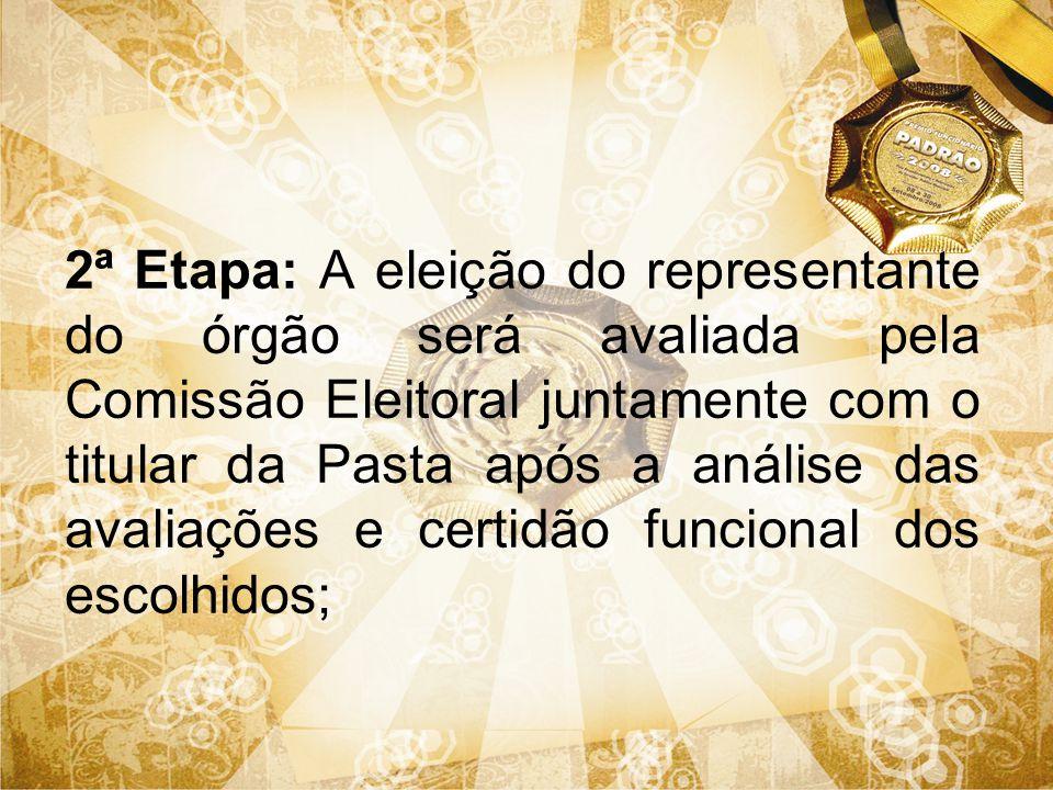 2ª Etapa: A eleição do representante do órgão será avaliada pela Comissão Eleitoral juntamente com o titular da Pasta após a análise das avaliações e