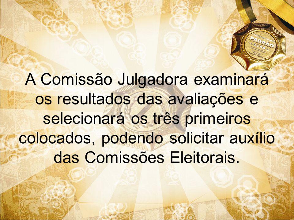 A Comissão Julgadora examinará os resultados das avaliações e selecionará os três primeiros colocados, podendo solicitar auxílio das Comissões Eleitor
