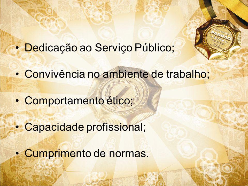 Dedicação ao Serviço Público; Convivência no ambiente de trabalho; Comportamento ético; Capacidade profissional; Cumprimento de normas.