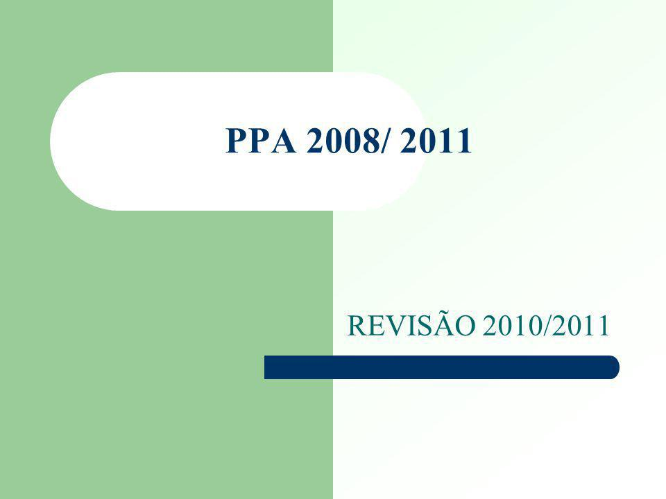 PPA 2008/2011- REVISÃO 2010 2011 A revisão do Plano Plurianual 2008-2011, com validade para 2010 e 2011, além de atender prerrogativas constitucionais, faz-se necessária devido à dinâmica do processo de planejamento e da gestão pública, numa época de mudanças freqüentes nos cenários interno e externo.