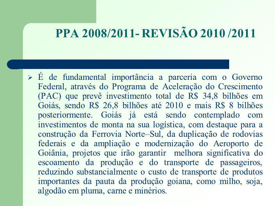 PPA 2008/2011- REVISÃO 2010 /2011 É de fundamental importância a parceria com o Governo Federal, através do Programa de Aceleração do Crescimento (PAC