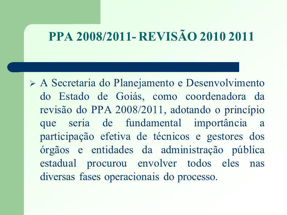 PPA 2008/2011- REVISÃO 2010 2011 O Governador Alcides Rodrigues assumiu o governo com o compromisso de fazer de Goiás, um Estado da Qualidade de Vida; Não se faz uma gestão governamental eficaz sem planejamento e o Plano Plurianual - PPA 2008 / 2011 constitui uma peça chave; Os 127 programas (118 do Poder Executivo e 9 de Outros Poderes e Ministério Público) do PPA 2008 / 2011- Revisão 2010/2011 foram orientados pelos compromissos assumidos no Plano de Governo - Goiás, Estado da Qualidade de Vida ; O PPA 2008 / 2011- REVISÃO 2010/2011 integra e articula as políticas do Governo Estadual, dando continuidade ao ciclo de desenvolvimento do Estado; Proporciona a alocação de recursos nos orçamentos anuais compatíveis com o plano e com o desempenho dos Programas;