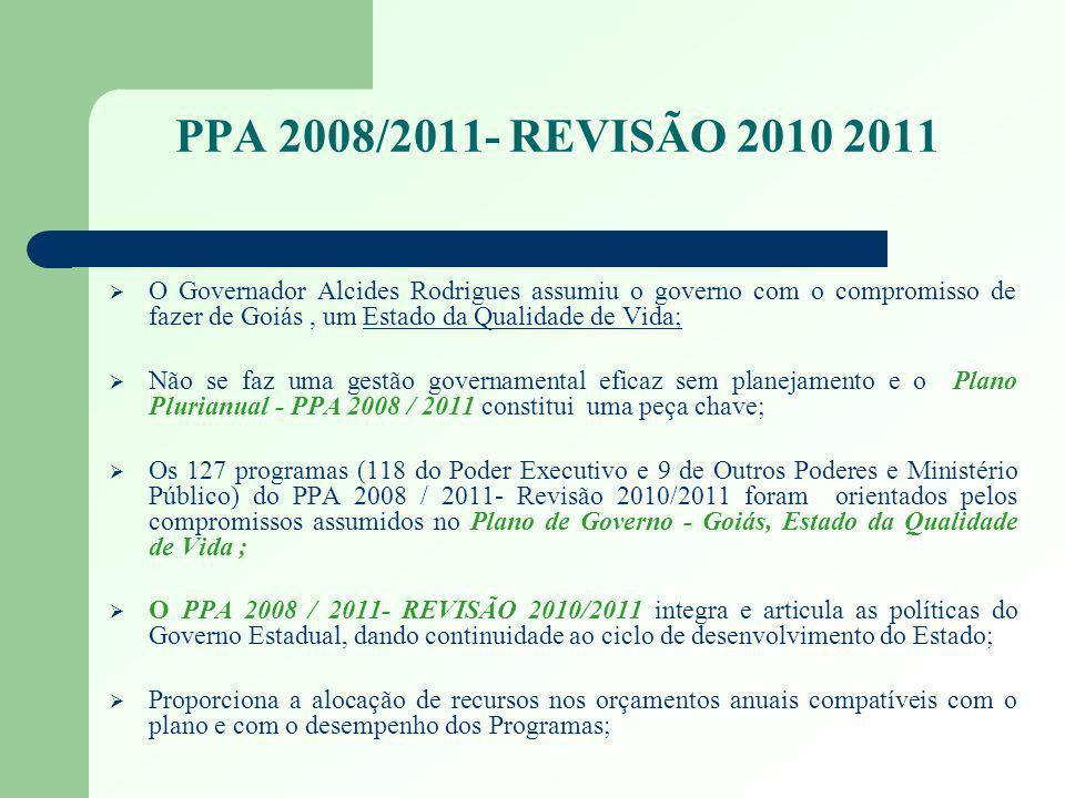 PPA 2008/2011- REVISÃO 2010 2011 O Governador Alcides Rodrigues assumiu o governo com o compromisso de fazer de Goiás, um Estado da Qualidade de Vida;
