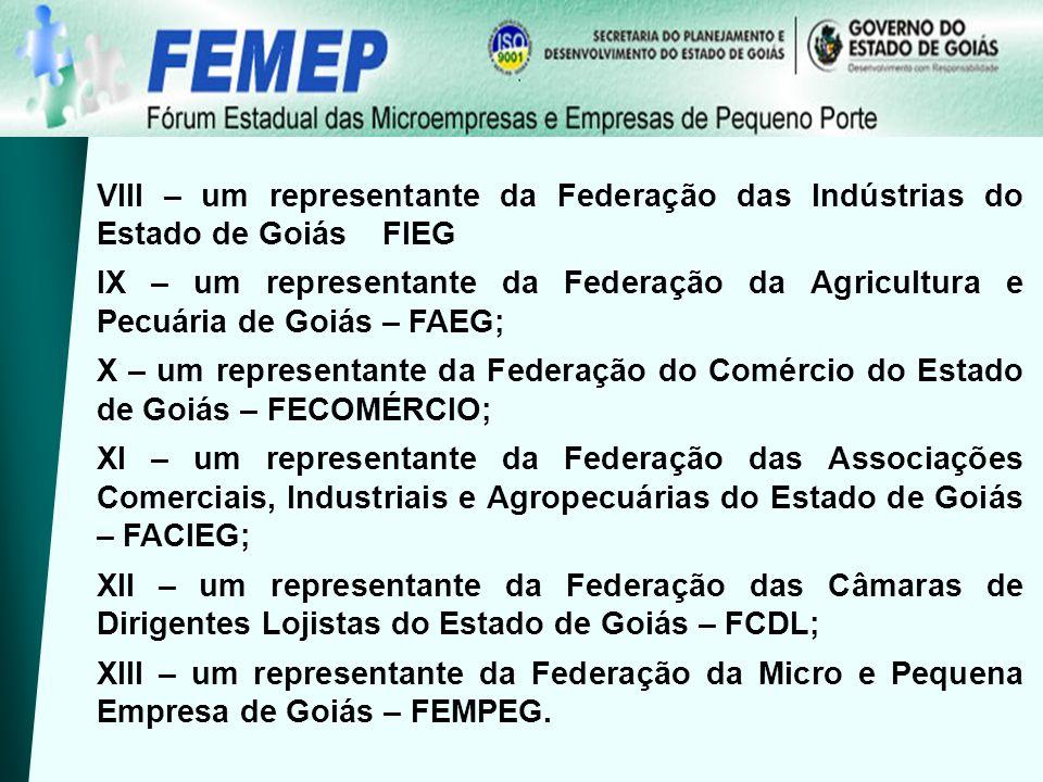 VIII – um representante da Federação das Indústrias do Estado de Goiás FIEG IX – um representante da Federação da Agricultura e Pecuária de Goiás – FA