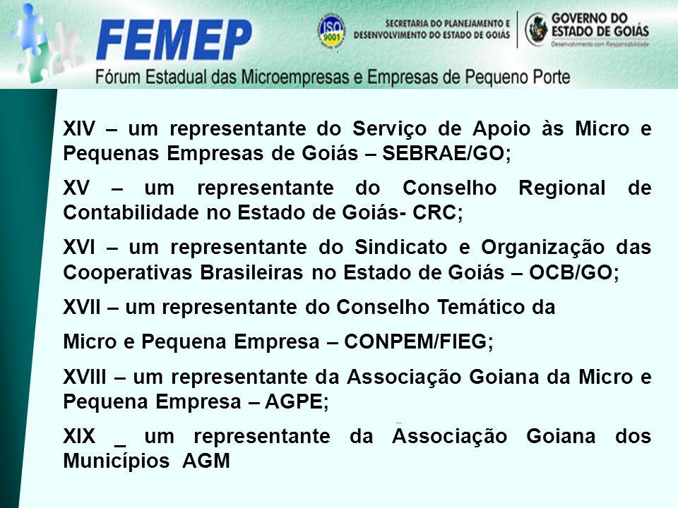 XIV – um representante do Serviço de Apoio às Micro e Pequenas Empresas de Goiás – SEBRAE/GO; XV – um representante do Conselho Regional de Contabilid