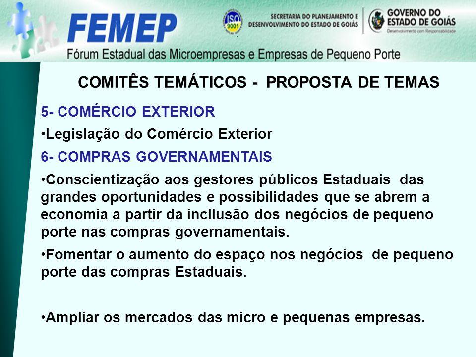 5- COMÉRCIO EXTERIOR Legislação do Comércio Exterior 6- COMPRAS GOVERNAMENTAIS Conscientização aos gestores públicos Estaduais das grandes oportunidad