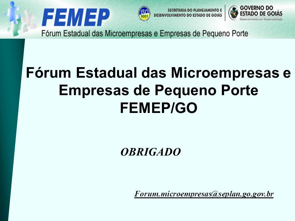 Fórum Estadual das Microempresas e Empresas de Pequeno Porte FEMEP/GO OBRIGADO Forum.microempresas@seplan.go.gov.br