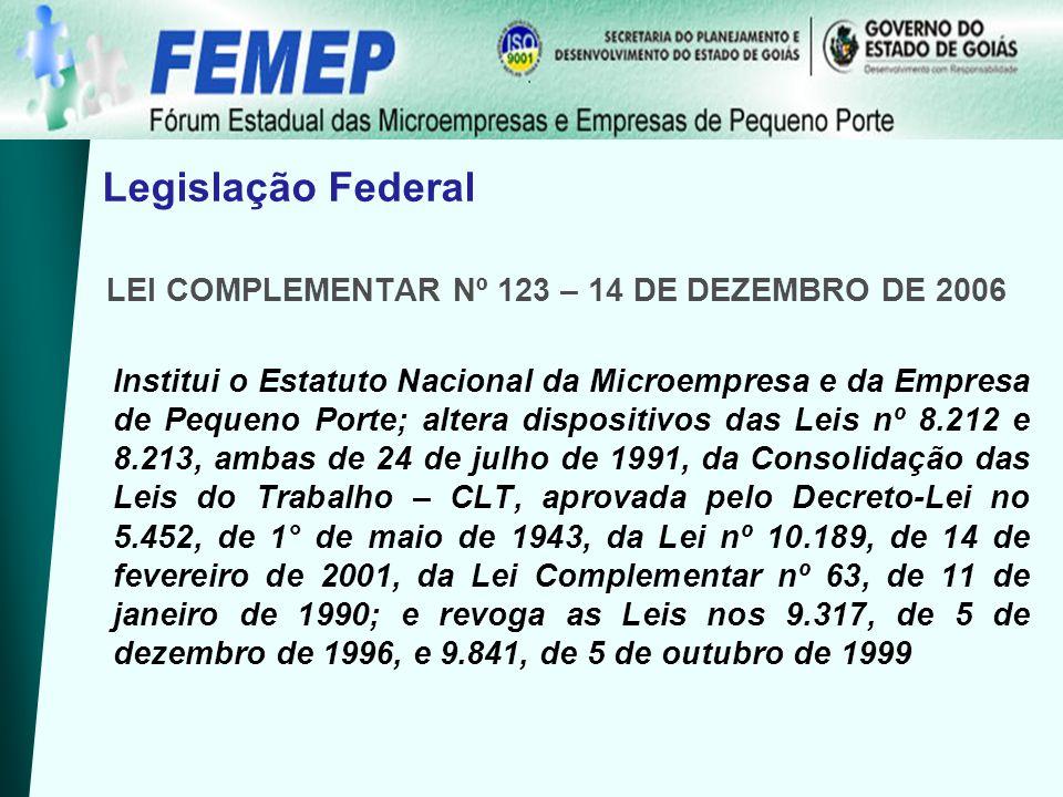 Legislação Federal LEI COMPLEMENTAR Nº 123 – 14 DE DEZEMBRO DE 2006 Institui o Estatuto Nacional da Microempresa e da Empresa de Pequeno Porte; altera