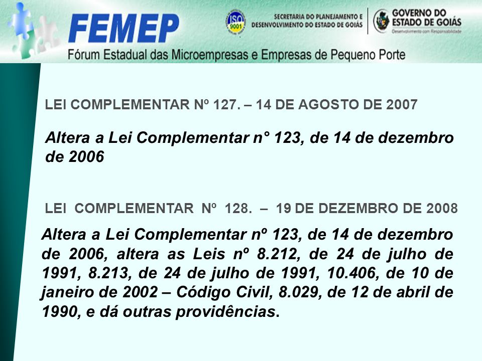 LEI COMPLEMENTAR Nº 127.