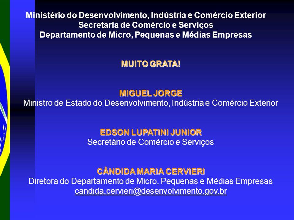 Ministério do Desenvolvimento, Indústria e Comércio Exterior Secretaria de Comércio e Serviços Departamento de Micro, Pequenas e Médias Empresas MUITO GRATA.