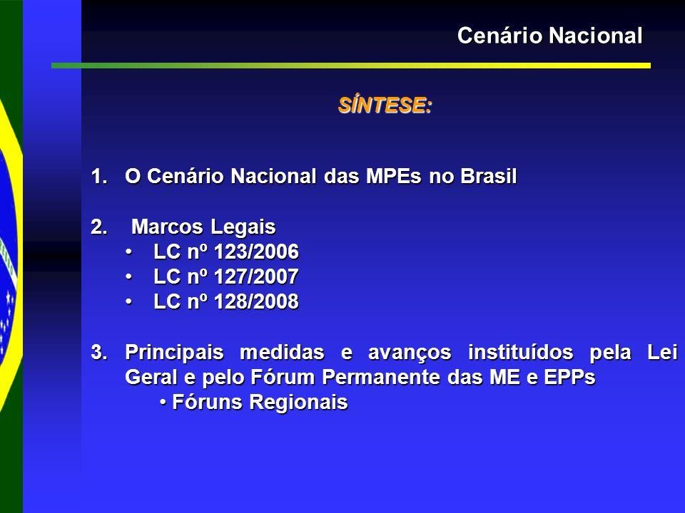 Cenário Nacional SÍNTESE: 1.O Cenário Nacional das MPEs no Brasil 2.
