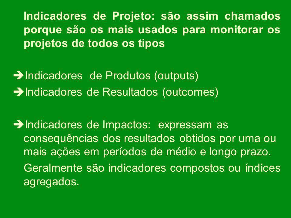 Indicadores de Projeto: são assim chamados porque são os mais usados para monitorar os projetos de todos os tipos Indicadores de Produtos (outputs) In