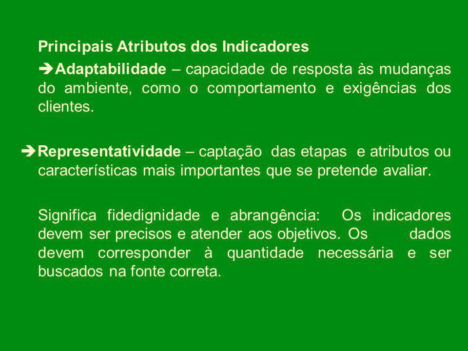 Principais Atributos dos Indicadores Adaptabilidade – capacidade de resposta às mudanças do ambiente, como o comportamento e exigências dos clientes.