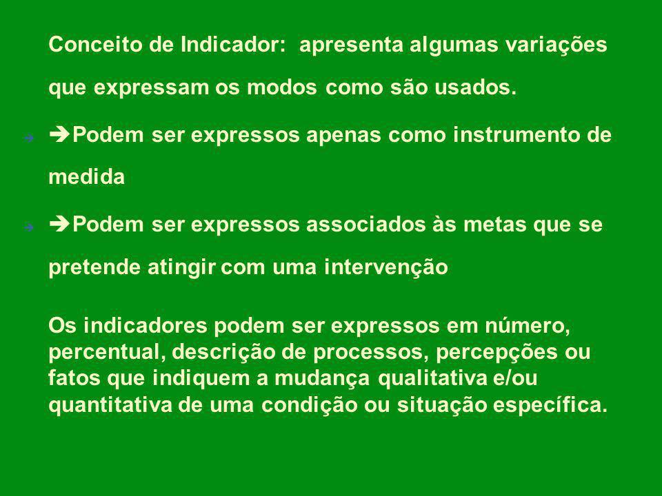 Conceito de Indicador: apresenta algumas variações que expressam os modos como são usados. Podem ser expressos apenas como instrumento de medida Podem